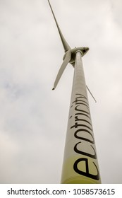 Reading, United Kingdom, 31th March 2018:- The Ecotricity wind turbine at Green Park Reading, a major landmark for traffic looking for Junction 11 on the M4 Motorway.