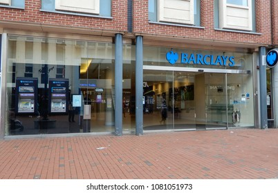 Reading, United Kingdom - April 26 2018:   The front of Barclays Bank on Broad Street