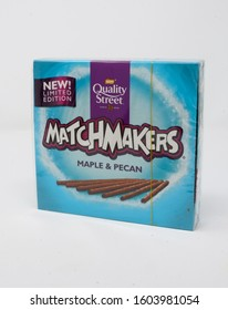 Reading, United Kingdom - December 29 2019:  A box of Maple and Pecan flavoured Matchmakers from Quality Street
