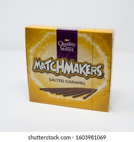 Reading, United Kingdom - December 29 2019:  A box of Salted Caramel flavoured Matchmakers from Quality Street