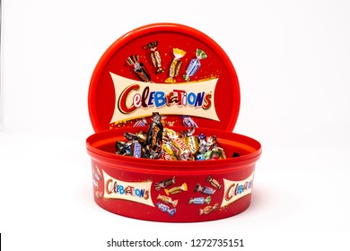 Reading, United Kingdom - December 30 2018:   A tub of Mars celebrations mini chocolates containing Twix, Bounty, mars Bars, maltesers, Milky way, Snickers
