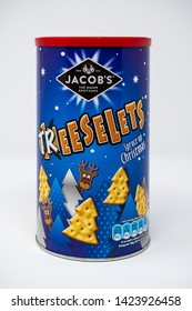 Reading, United Kingdom - December 30 2018:   A tin of Jacobs Cheeselets for Christmas and renamed Treeslets