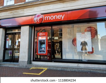 Reading, United Kingdom - June 22 2018:   The store front of Virgin Money bank on Friar Street