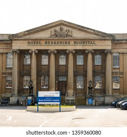 Reading, United Kingdom - March 30 2019:   The original frontage to the Royal Berkshire Hospital on London Road