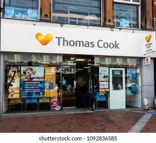 Reading, United Kingdom - May 09 2018:   The frontage of Thomas Cook Travel Agent shop in Broad street