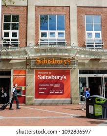 Reading, United Kingdom - May 09 2018:   The frontage of Sainsburys supermarket in Broad street