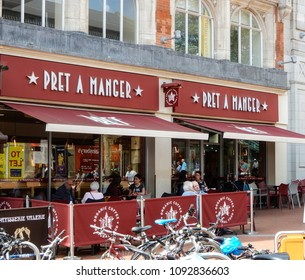 Reading, United Kingdom - May 09 2018:   The frontage of Pret a Manger sandwich shop in Broad street