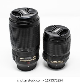 Reading, United Kingdom - September 29 2018:   A Nikon AF-S Nikkor 70-300mm G ED telephoto zoom lens and a  AF-S Nikkor 18-105mm G ED  zoom lens