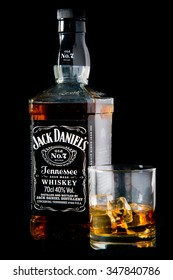 READING,ENGLAND UK- DECEMBER 06,2015:Jack Daniel's whiskey bottle and glass. Jack Daniel's is a brand of sour mash Tennessee whiskey and the highest selling American whiskey in the world.