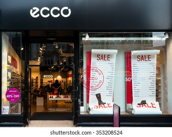 READING,ENGLAND-DECEMBER 19,2015:ECCO shoe shop in Reading,UK on December 19,2015.ECCO is a Danish shoe manufacturer and retailer founded in 1963 by Karl Toosbuy, in Bredebro, Denmark.