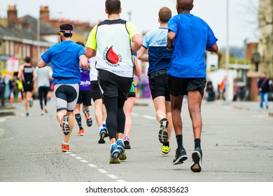 READING,UK-MARCH 19,2017:Runners during Half marathon in Reading on 19 march 2017.