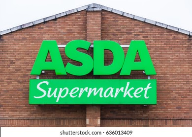 READING,UK-MAY 06,2017:Asda Superstore exterior. Asda is the UK's second largest chain by market share after Tesco.