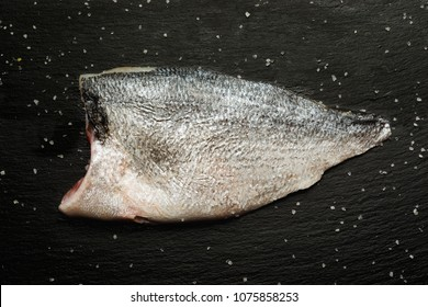 ready to cook fillet of  raw bream fish with salt