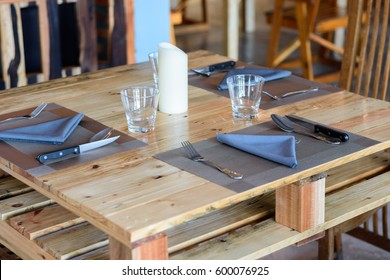 Ready dinner table set in kitchen
