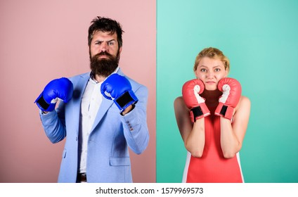 ready to fight. problems in relationship. sport. family couple boxing gloves. bearded man hipster fighting with woman. Strength and power. knockout punching. who is right. win the fight.