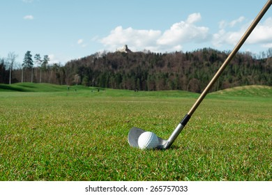 ready to hit golf ball with golf iron