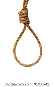 A ready made noose on a white background.
