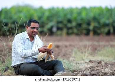 Ready maize and young happy farmers  India