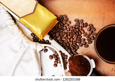 Ready photo content for coffee production advertising. Craft production of coffee. The ritual of coffee consumption