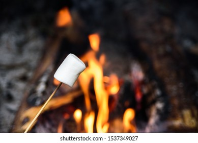 Ready to roast marshmallow on wooden stick near camp fire