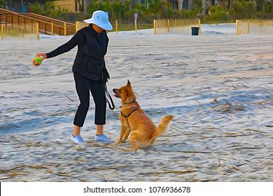 """Ready To Run""; our pet dog ready to fetch the ball on a Hilton Head Island, SC beach."