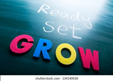Ready, set, grow! Colorful conceptual words on blackboard.