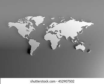 World map steel images stock photos vectors shutterstock real 3d white silver world map with terrain relief continent on gray background image for gumiabroncs Images