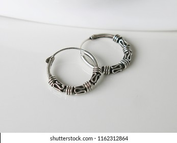 Real 9.25 Silver Earrings Bali Hoop Black Oxidized