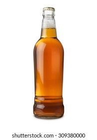 Real ale beer bottle isolated on white with clipping path