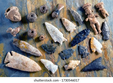 Real American arrowheads and Indian artifacts.