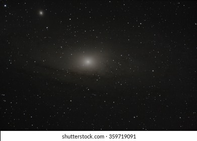 Real astronomic picture taken using telescope of the famous galaxy in andromeda constellation