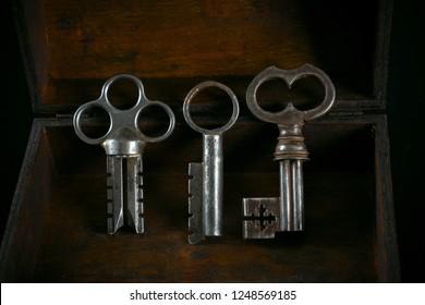 Real beautiful vintage metal keys in a wooden box