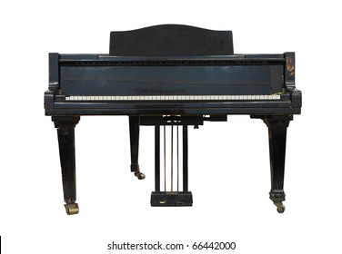 Real black old grand  piano isolated on white
