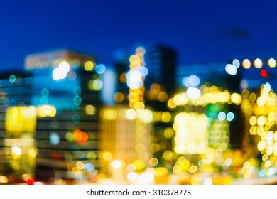 Real Blurred Colorful Bokeh Background With Defocused Lights In Oslo, Norway
