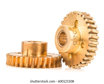 real brass metal gear on white background, stack focus technic added, all objects are in focus.