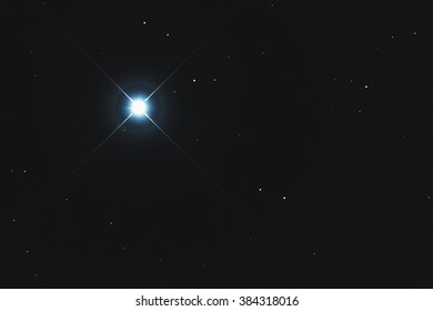Real Bright blue star Sirius taken with CCD camera through medium focal length telescope
