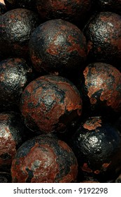 Real cannon balls from the 16th century from San Felipe del Morro Fortress, San Juan, PR, USA. The only castle never taken by force in the history of warfare.