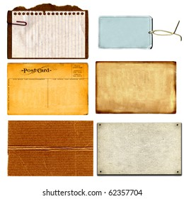 Real Cardboard And Paper Items, Postcard From 1900s And Vintage Tag Each Isolated On White