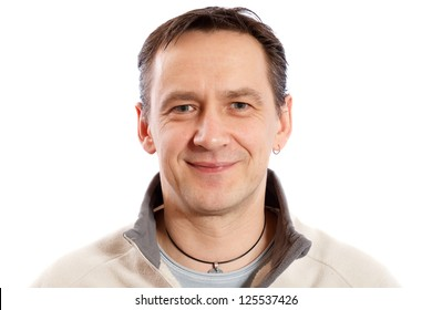 real casual man portrait on white background