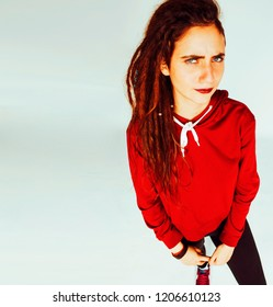 real caucasian woman with dreadlocks hairstyle funny cheerful fa