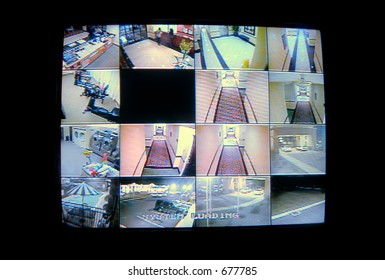 A real cctv security system monitor with multiple camera views of a hotel.