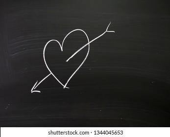 Real chalk heart on real school blackboard. Young love etc.