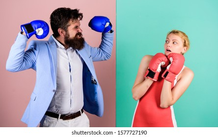 real champion. bearded man hipster fighting with woman. family couple boxing gloves. Strength and power. problems in relationship. sport. knockout punching. who is right. win the fight.