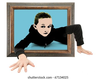 Real child crawling out of framed pop art on floor.