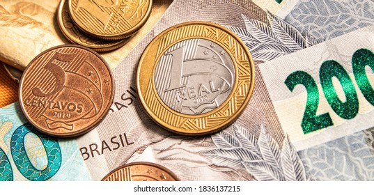 Real currency, money from Brazil. Dinheiro, Reais, Real Brasileiro, Brasil. A Brazilian banknotes in close up.