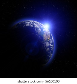 Real Earth Planet. Blue Idill.