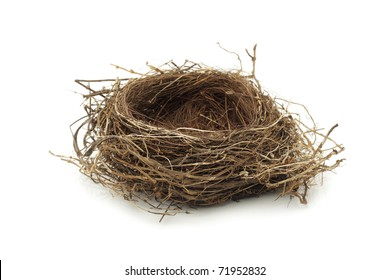 Real empty bird nest on white