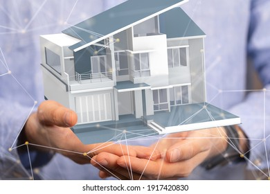 Real Estate Agent house hand concept