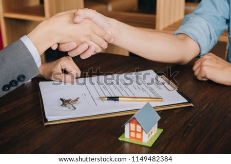 Real Estate Broker Agent Shaking Hands Stock Photo Edit Now