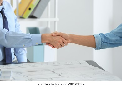Real estate broker and customer shaking hands in office